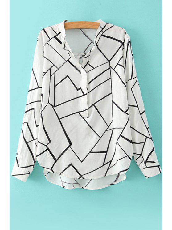 fancy Geometric Print Long Sleeve Blouse - WHITE S
