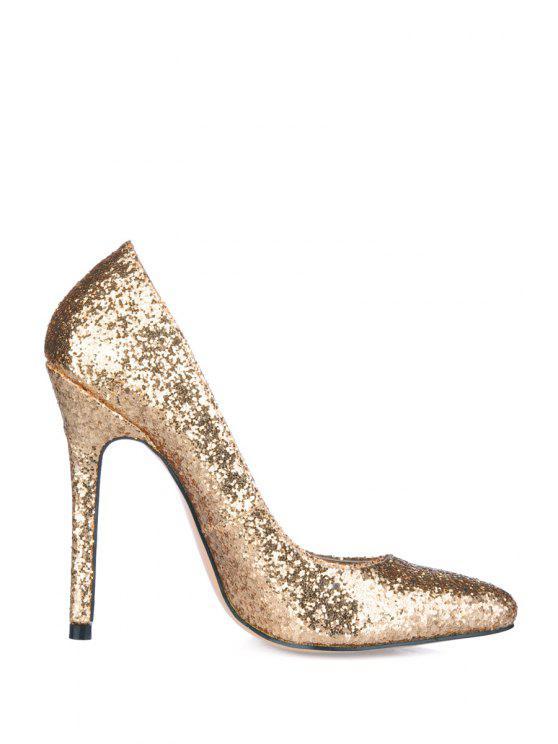 trendy Sequined Pointed Toe Stiletto Heel Pumps - GOLDEN 37