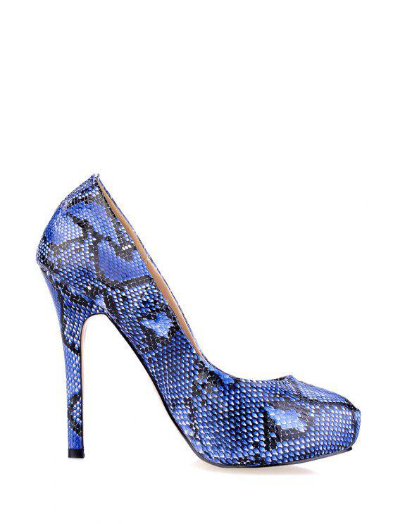fashion Sexy High Heel Snake Print Pumps - BLUE 35