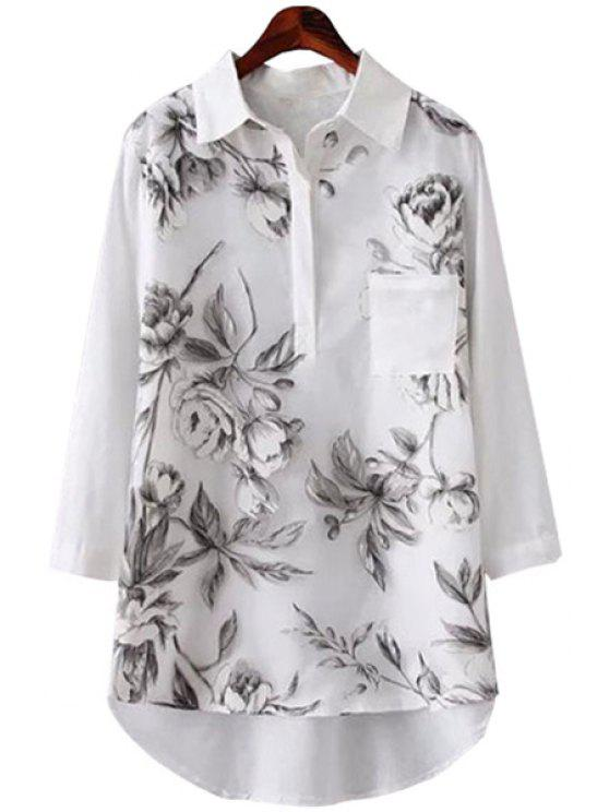 affordable Floral Print Spliced 3/4 Sleeve Shirt - WHITE M