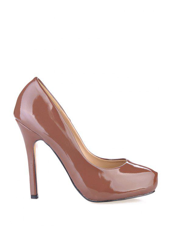 hot Solid Color Patent Leather Pumps - COFFEE 35