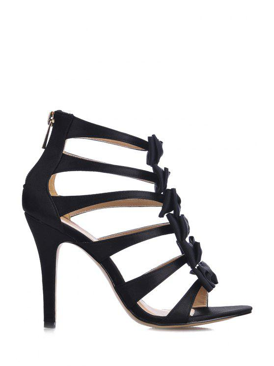 latest Satin Stiletto Heel Bowknot Black Sandals - BLACK 35