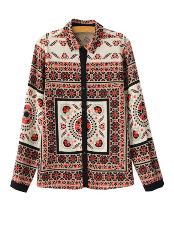 women Retro Pattern Long Sleeve Shirt - COLORMIX S