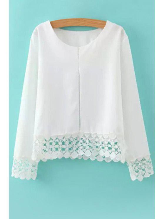 lady Lacework Spliced Long Sleeve Blouse - WHITE M