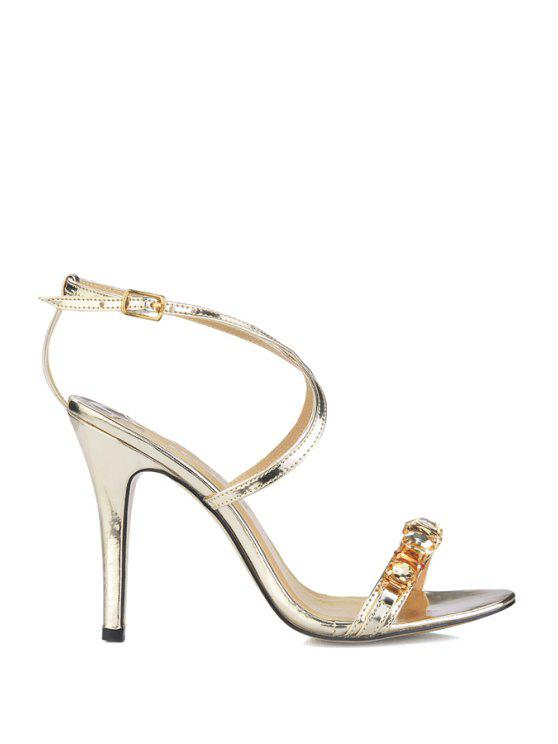 unique Rhinestones Stiletto Heel Criss-Cross Sandals - GOLDEN 35