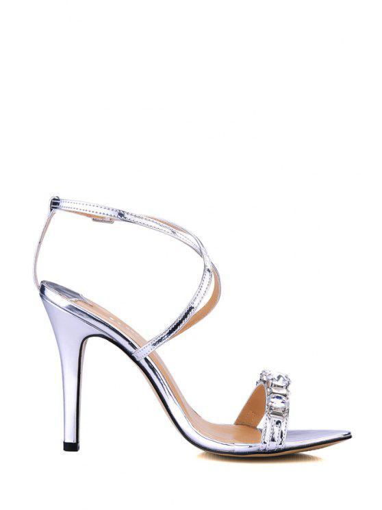 39% OFF  2019 Rhinestones Stiletto Heel Criss-Cross Sandals In ...