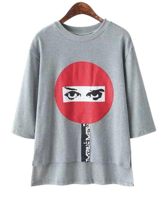unique Eye Print Half Sleeve T-Shirt - GRAY ONE SIZE(FIT SIZE XS TO M)