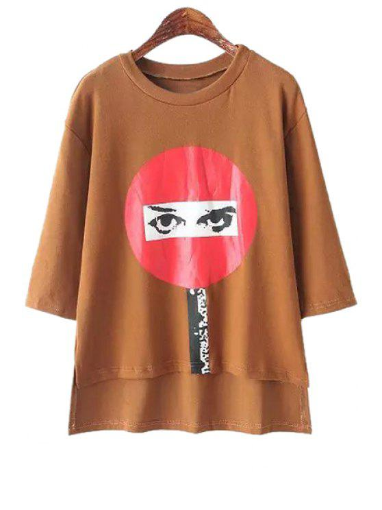 sale Eye Print Half Sleeve T-Shirt - KHAKI ONE SIZE(FIT SIZE XS TO M)