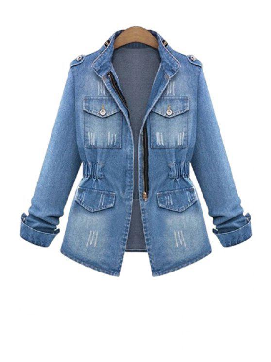 online Bleach Wash Ruffle Denim Long Sleeve Coat - BLUE S