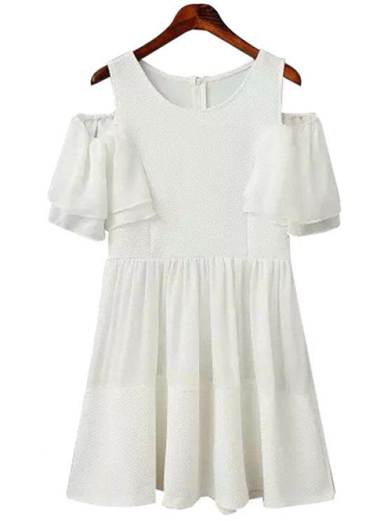 shop Off-The-Shoulder White Short Sleeve Dress - WHITE S