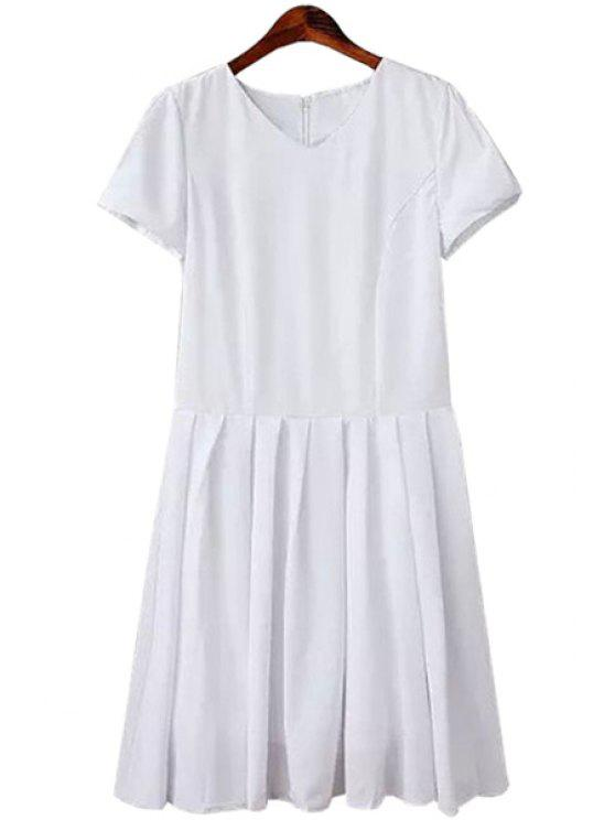 chic White V-Neck Short Sleeve Dress - WHITE S