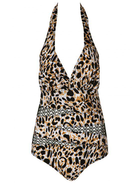 unique Halter Leopard Pattern Mesh Swimwear - LEOPARD L