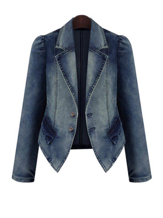 trendy Bleach Wash Denim Long Sleeve Coat - DEEP BLUE 3XL