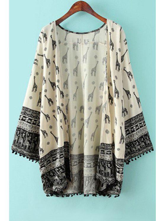 online Giraffe Print Long Sleeve Blouse - OFF-WHITE S