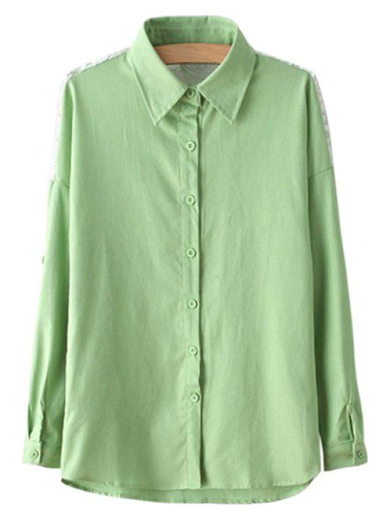 outfit Lace Spliced Green Long Sleeve Shirt - GREEN S