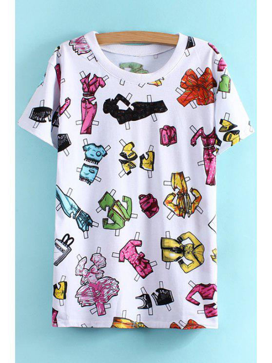 affordable Clothes Print Short Sleeve T-Shirt - WHITE ONE SIZE(FIT SIZE XS TO M)