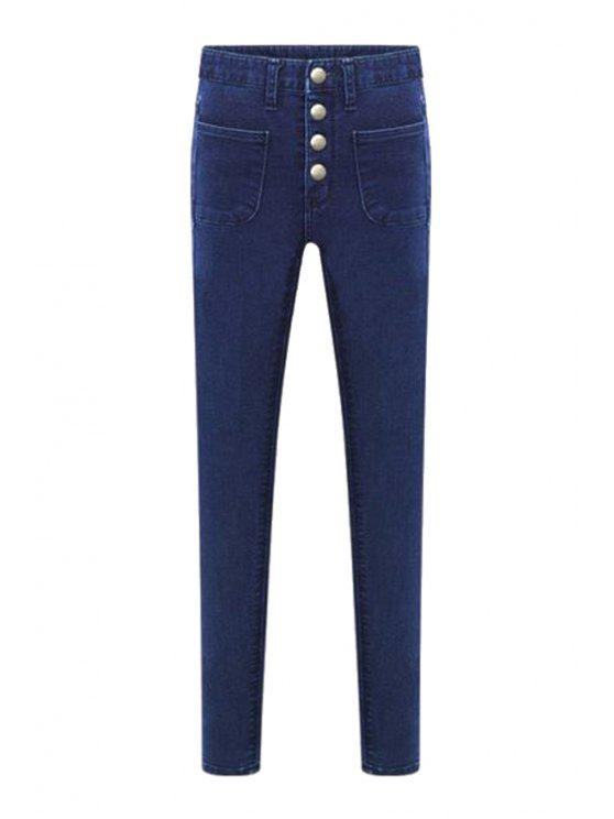 lady Bleach Wash Four Buttons High Waist Jeans - DEEP BLUE XS