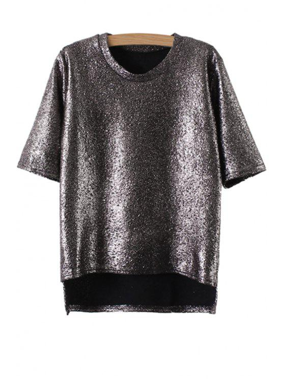 buy Metal Color Short Sleeve T-Shirt - GRAY ONE SIZE(FIT SIZE XS TO M)