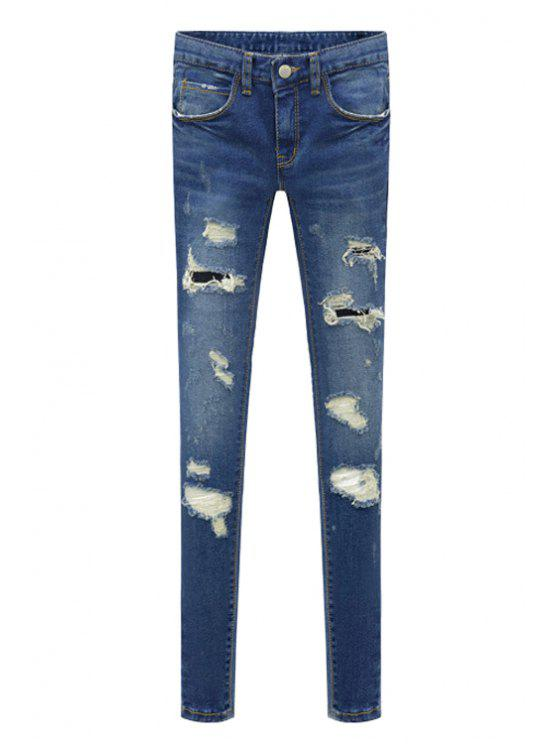 chic Bleach Wash Hole Zipper Fly Jeans - BLUE XS