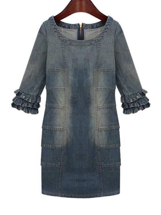 best Bleach Wash Flounce Splicing Denim Dress - PURPLISH BLUE S