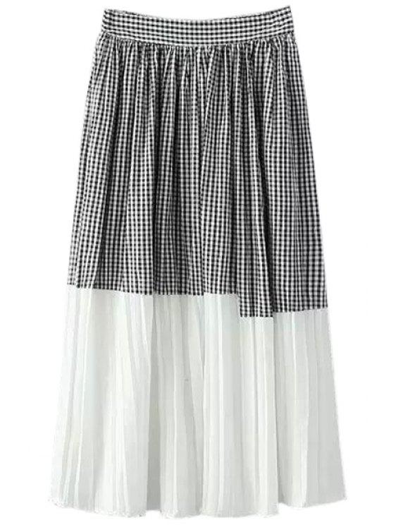 womens Checked Spliced A-Line Skirt - WHITE AND BLACK ONE SIZE(FIT SIZE XS TO M)