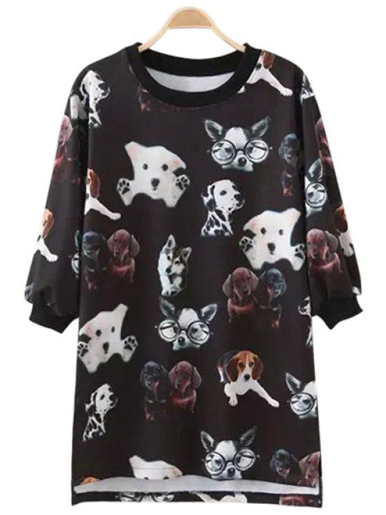 lady Puppy Print Half Sleeve T-Shirt - BLACK M