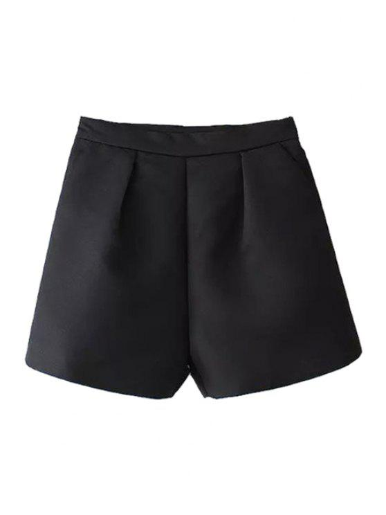 outfits Solid Color Wide Leg High Waisted Shorts - BLACK S