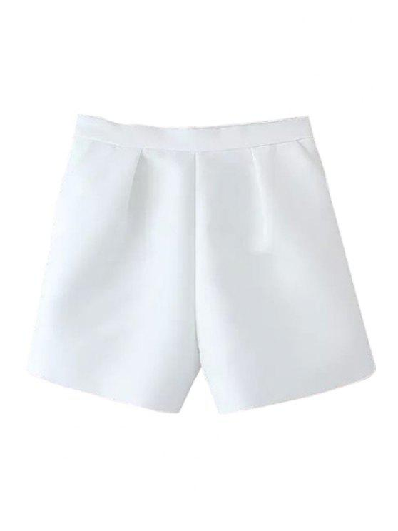 unique Solid Color Wide Leg High Waisted Shorts - WHITE M