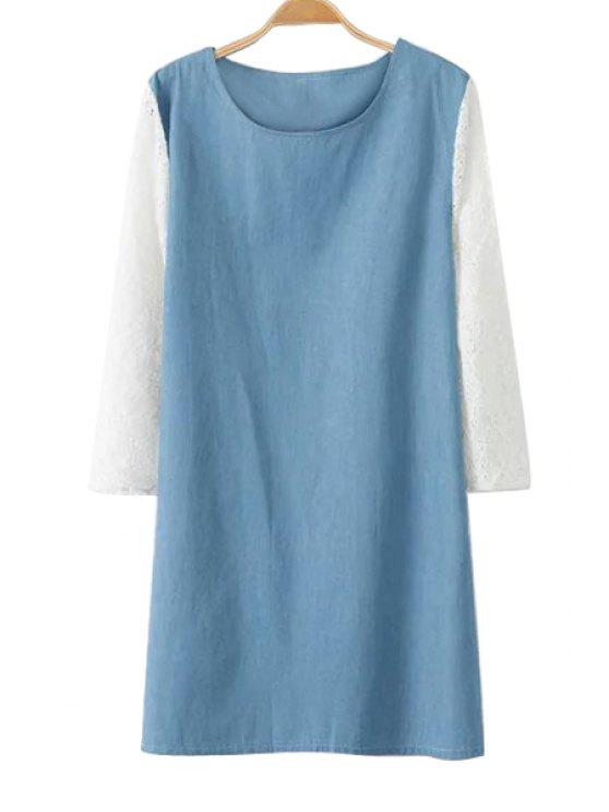 best Lace Splicing Denim 3/4 Sleeve Dress - BLUE AND WHITE L