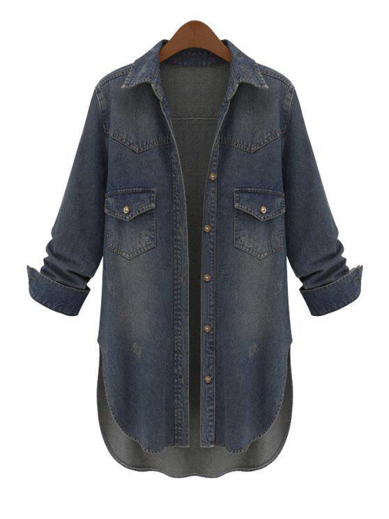 outfits Side Slit Asymmetrical Bleach Wash Denim Coat - DEEP BLUE L