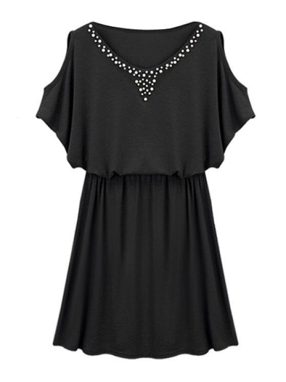 hot Faux Pearl Bead Off-The-Shoulder Dress - BLACK M