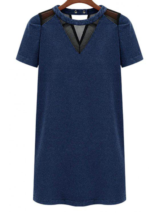 outfits Voile Splicing Denim Short Sleeve Dress - BLUE S