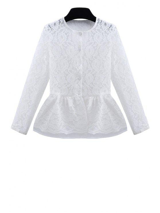 womens See-Through Lace Long Sleeve Shirt - WHITE S