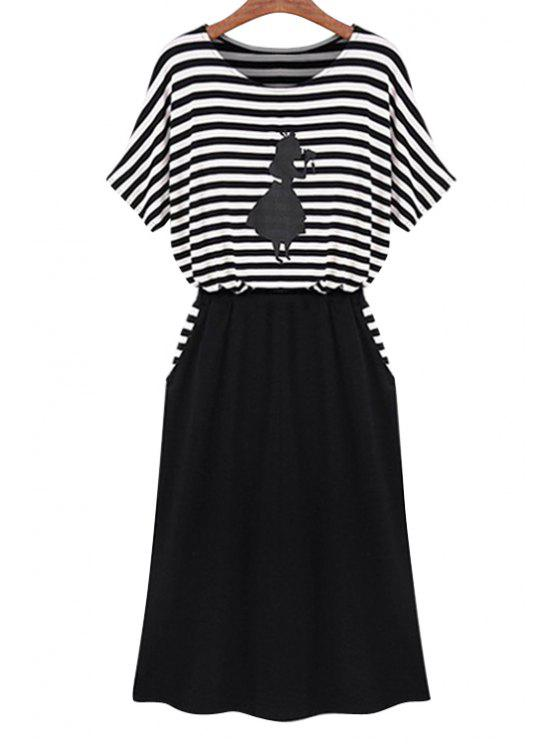 buy Stripe Figure Print Splicing Dress - WHITE AND BLACK L