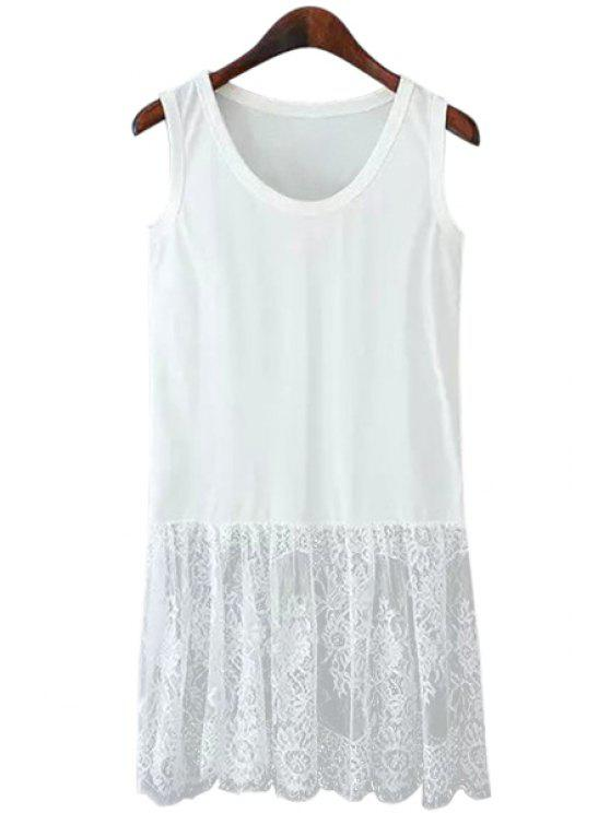 fashion Lace Spliced Scoop Neck Sundress - WHITE M