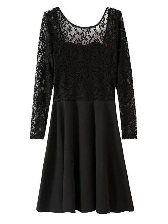 women Lace Spliced Long Sleeve Dress - BLACK S