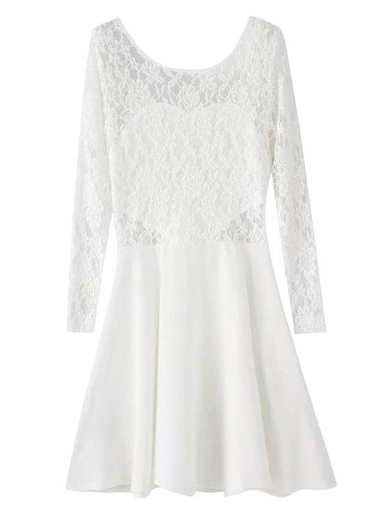 shop Lace Spliced Long Sleeve Dress - WHITE L