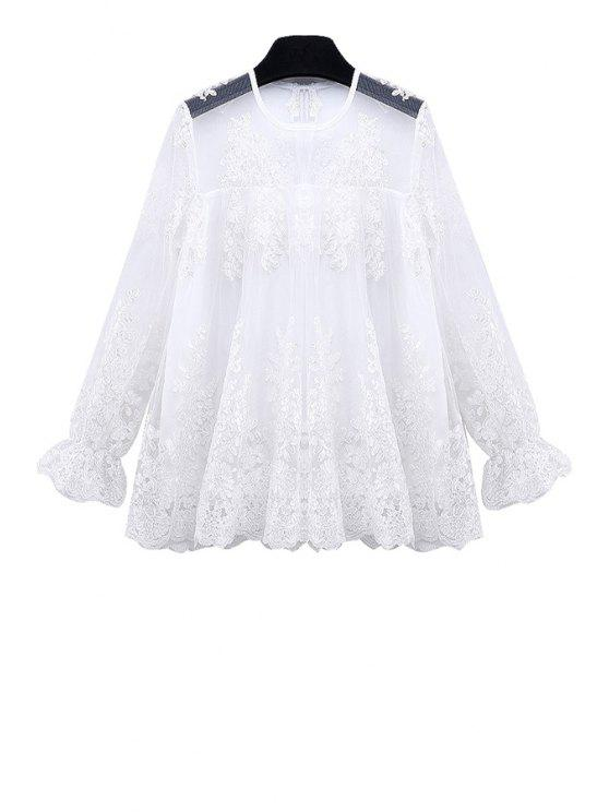 fancy See-Through Flounce Lace Shirt - WHITE M