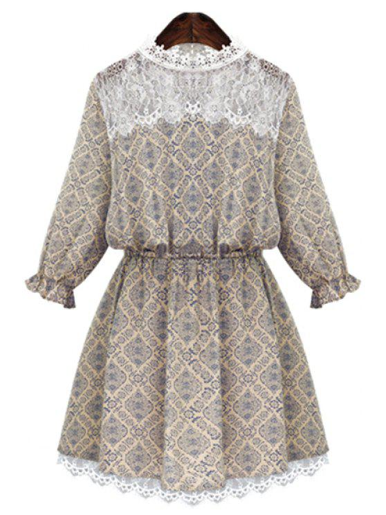 lady Round Neck Print Lace Splicing Dress - BEIGE L