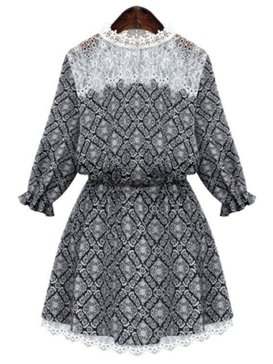 trendy Round Neck Print Lace Splicing Dress - BLACK 2XL