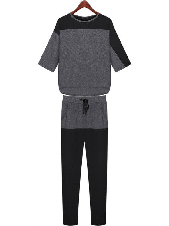 sale Color Block Half Sleeve T-Shirt + Pants - DEEP GRAY M