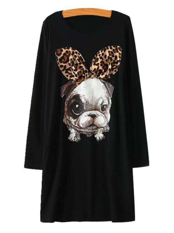 sale Puppy Print Long Sleeve Dress - BLACK M