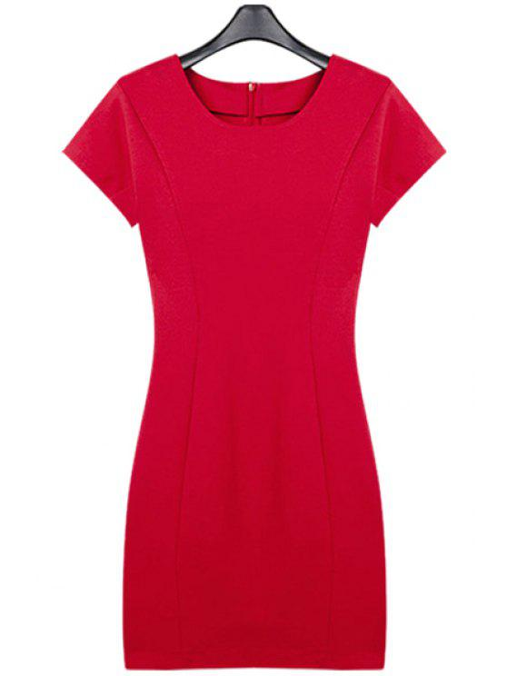 buy Solid Color Slimming Short Sleeve Dress - RED S