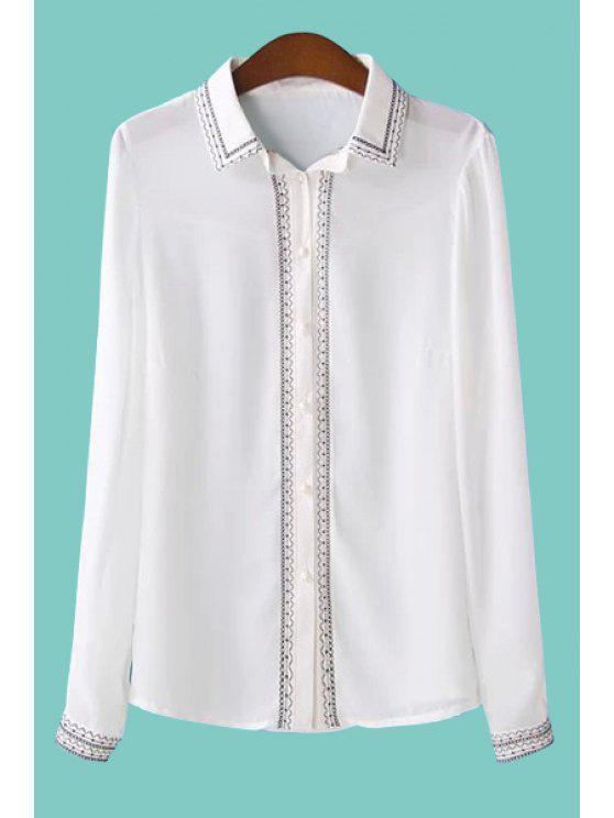affordable Embroidery Long Sleeve Chiffon Shirt - WHITE M