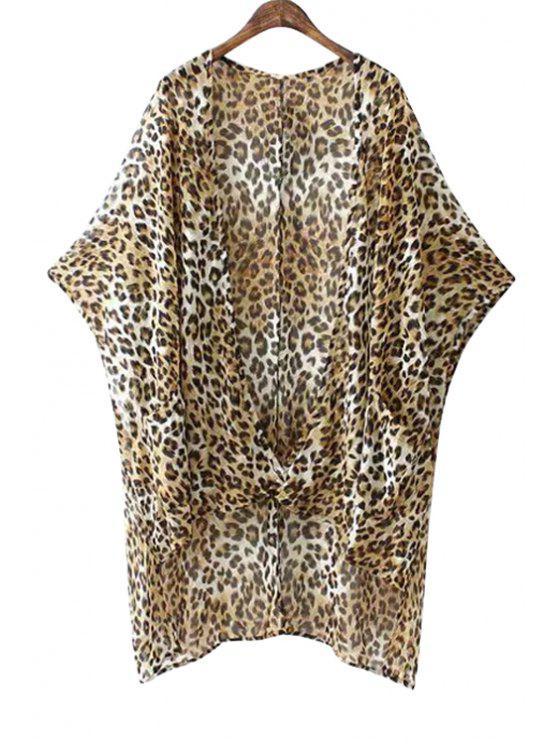 womens Leopard Print Bat-Wing Sleeves Blouse - LEOPARD S