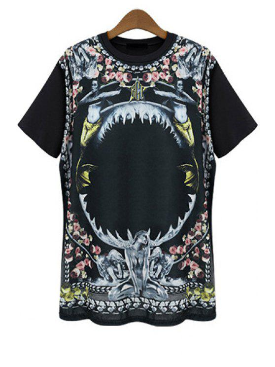 women Figure Floral Print Short Sleeve T-Shirt - BLACK L