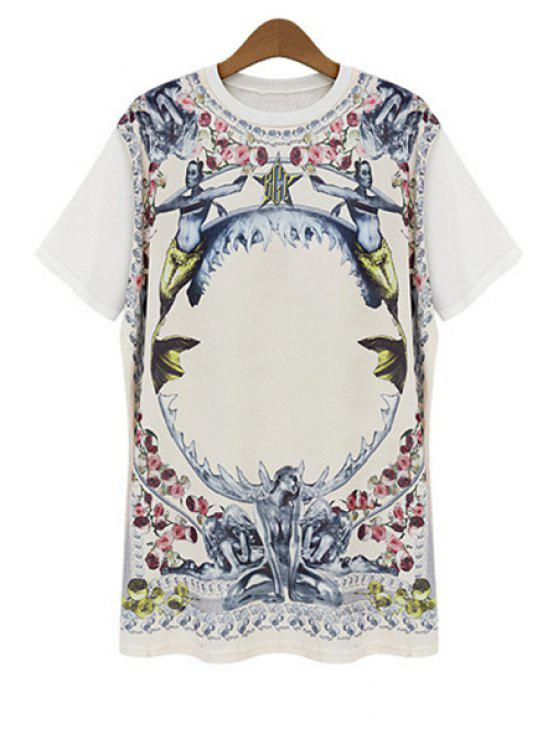online Figure Floral Print Short Sleeve T-Shirt - WHITE L