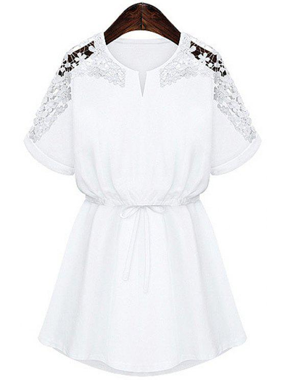 new Lace Splicing Tie-Up Short Sleeve Dress - WHITE S