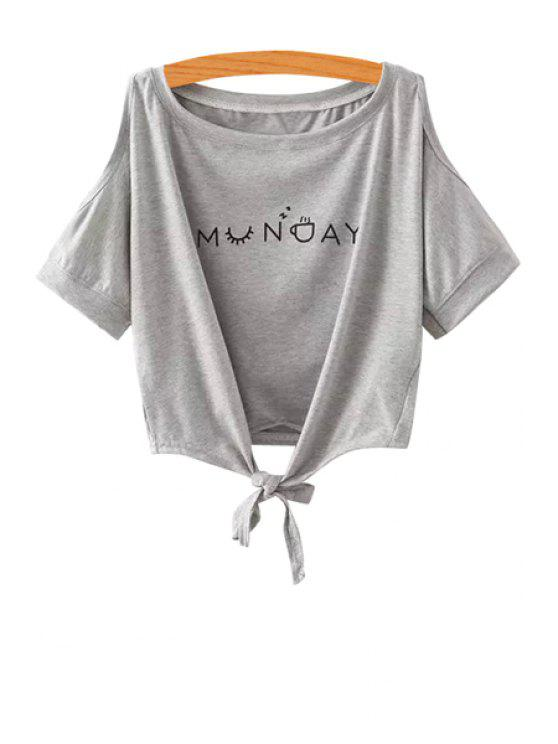 Letter Print Off The Shoulder T Shirt Light Gray Tees One