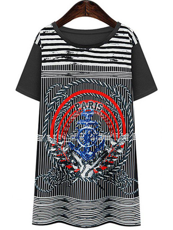 trendy Scoop Neck Stripe Color Block T-Shirt - BLACK S